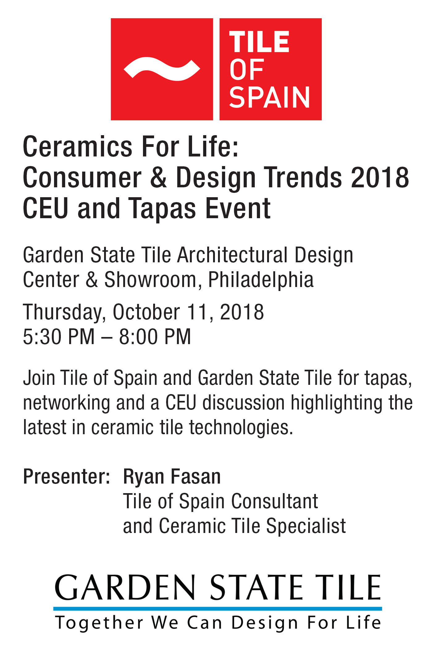Tile Of Spain Ceramics For Life 2018 Ceu Event With Garden State
