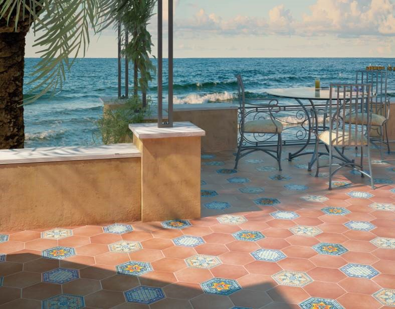 "Equipe Cerámicas - Hexatile Series. Ceramic floor tiles combined with Cotto Caldera (7x 8"") and Decorados Basílica 1, 2 & 3 (7x 8"")"