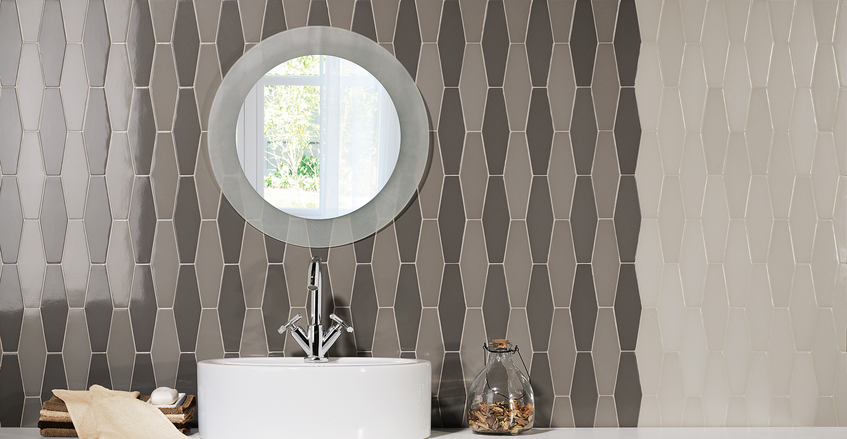 Natucer. Tandem. Avanti. Large Irregular Hexagon Size, available in 8MM or 13MM thickness. Available in three shades of blue, grey and beige.