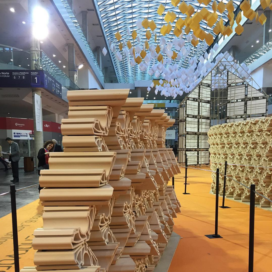 As part of the trip, contest winners get to visit Cevisama, the International Ceramic Tile and Bath Furnishing Show in Valencia. These partition modules, produced with extruded clay, can be cut and stacked in many combinations. Using only a single die, the modules were designed by Harvard University Graduate School of Design's Material Processes and Systems Group, produced for this installation with the Spanish Association of Manufacturers of Ceramic Tile. Photo courtesy Elaine Santos.