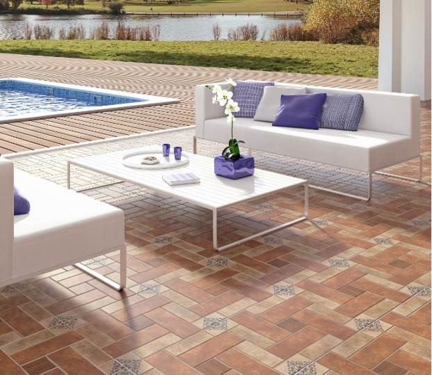 "Azulev - Alfama Series Ceramic floor tile Alfama Cotto ( 18X18"")"