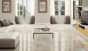 "Ceracasa - Absolute Series. Porcelain floor tiles in high gloss. Color: Sand (20X40"")."
