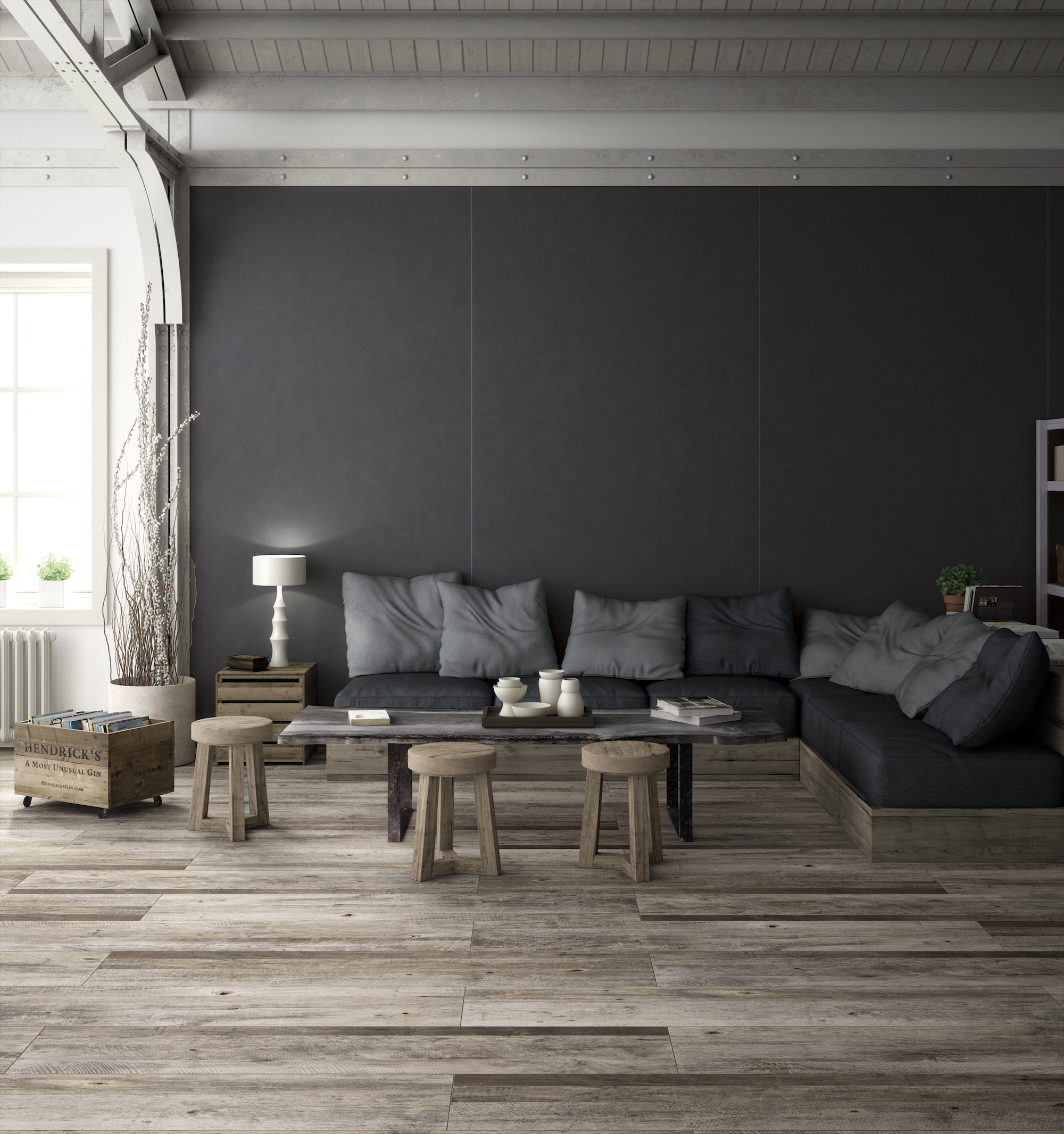 "Inalco - Evoque Series. Ceramic floor tiles in natural cream tone (11.5X46.5"")"