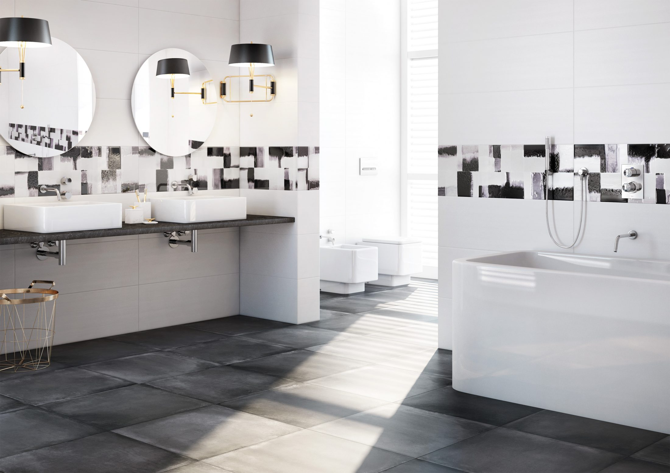 "Roca. Matier Series – Glossy white tiles combined with floor tiles in grays with a watercolor effect. (12X36"")."
