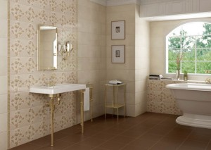 "Rocersa - Wall tiles: Edén Series in ivory shade (10X30"") with decorative pieces. Edén-12 DEC-1 Ivory (10X30"") and trim pieces Udine Oro (1X10""). Ceramic Floor tile: Clown Moka Series (12.5X12.5"")."