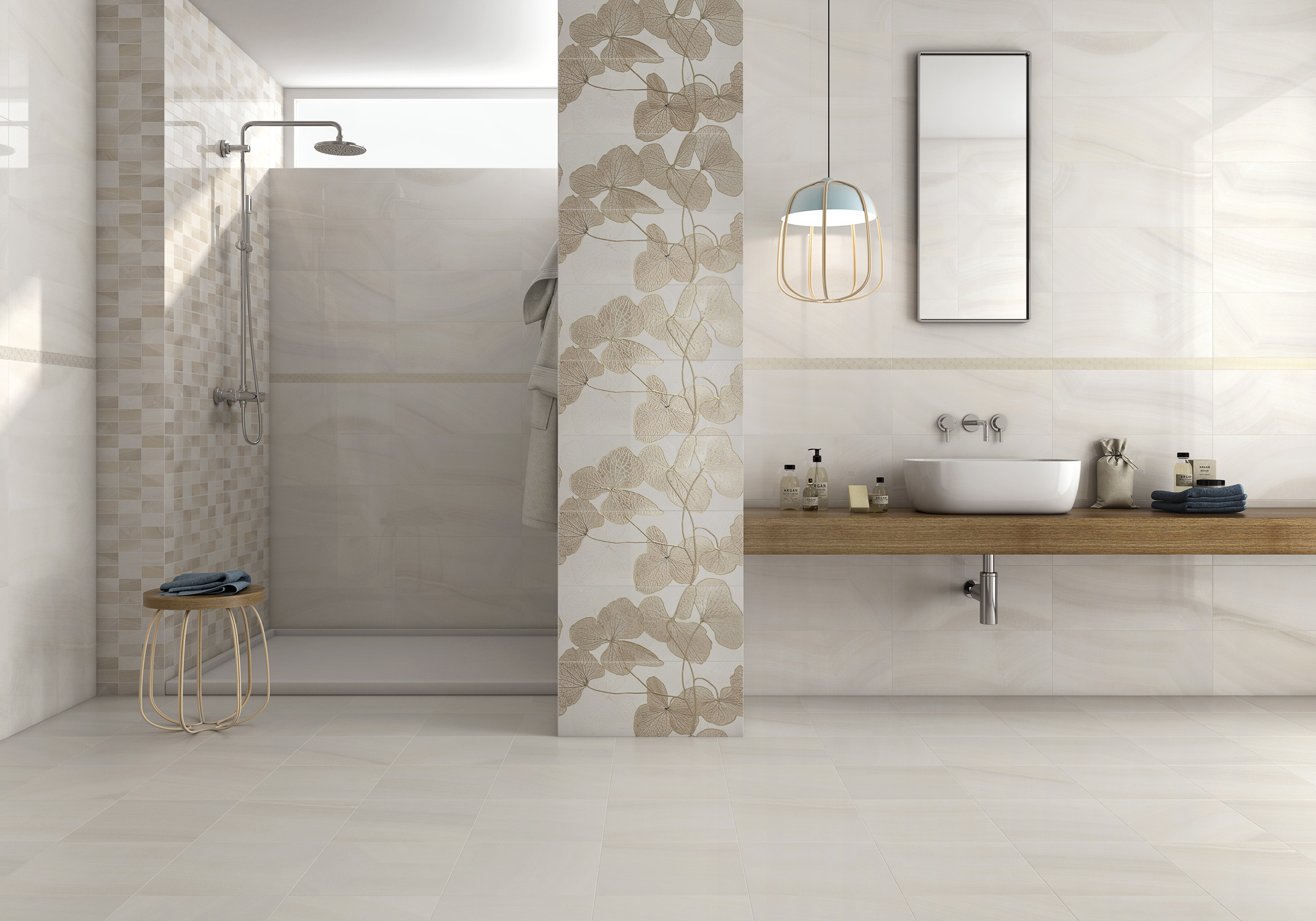 "Unicer.  Agatha Series Wall Tiles:  Decor beige (Flowers) (9X9"") combined with plain beige pieces and Listelo Metalic Oro trim (1.5X23"")"