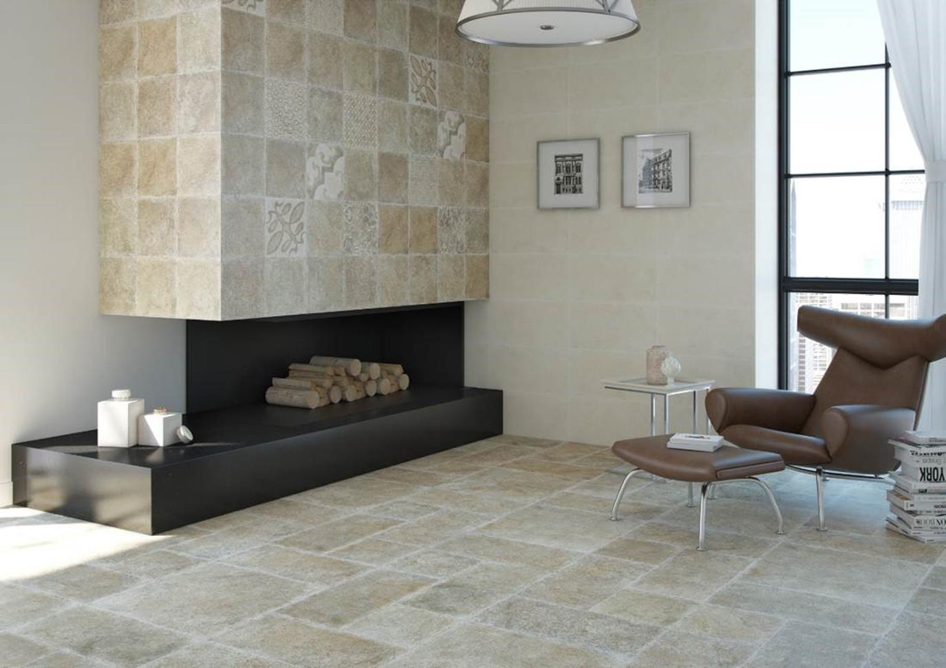 Bellacasa – Quercy Series. Porcelain floor tile in 60.5 X 60.5 Cm. (24 X 24 inches).  On the wall of the fireplace the format is 30 X 30 Cm. (12 X 12 inches)