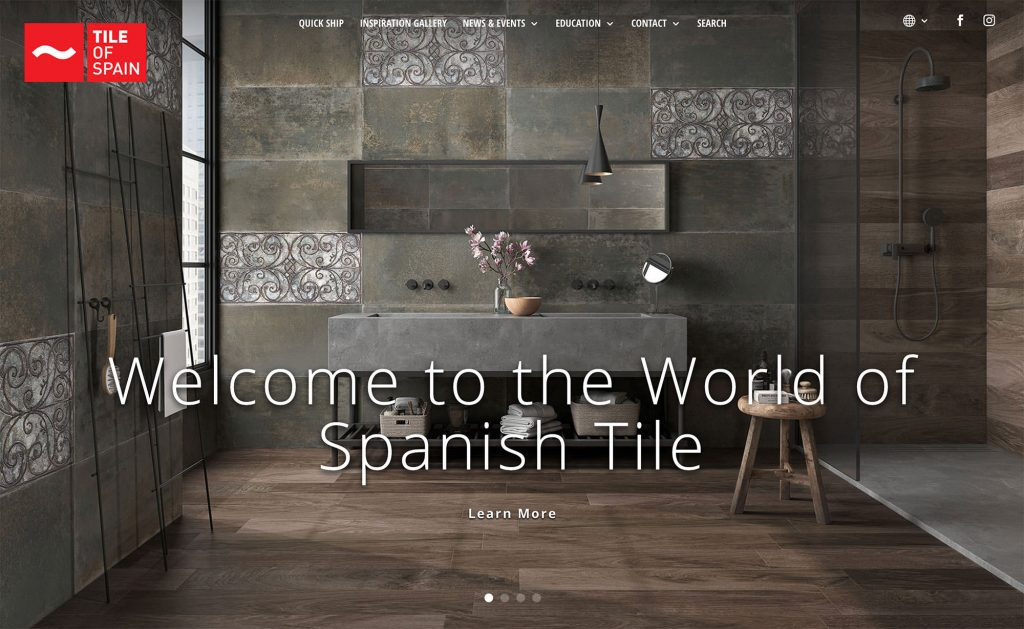 Image slider of the new Tile of Spain USA website